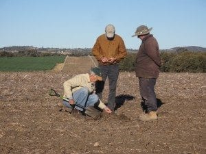 Checking soil condition on a CTF farm on the Darling Downs Qld winter